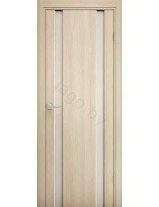Дверь межкомнатная экошпон Ladora Эго 3-2, Орех капучино, белый триплекс
