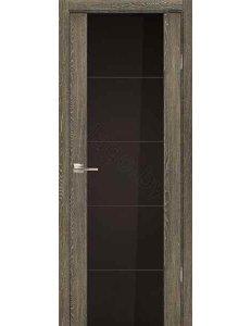 Дверь межкомнатная экошпон Ladora Эго 3-3, Дуб седой / Черный триплекс с гравировкой