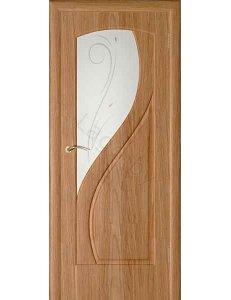 Межкомнатная дверь шпонированная Камелия дуб стекло фьюзинг/Глухая