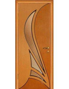Межкомнатная дверь шпонированная Корона дуб Рифленое стекло(терновник)/Глухая