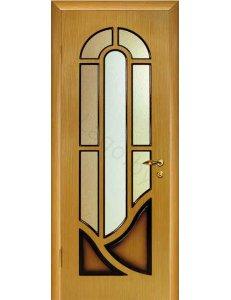Межкомнатная дверь шпонированная Мария дуб Рифленое стекло(терновник)/Глухая