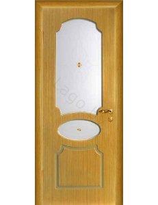 Межкомнатная дверь шпонированная Неаполь дуб стекло фьюзинг/Глухая