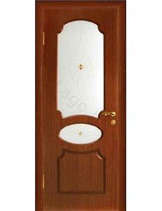 Межкомнатная дверь шпонированная Неаполь орех стекло фьюзинг/Глухая