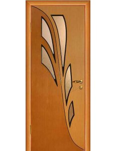 Межкомнатная дверь шпонированная Орхидея дуб Рифленое стекло(терновник)/Глухая
